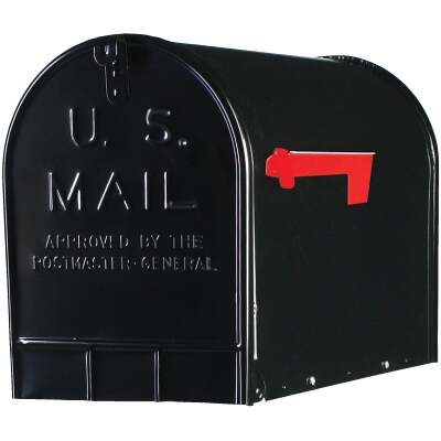 Gibraltar Stanley T3 Black Steel Rural Post Mount Mailbox