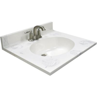 Modular Vanity Tops 25 In. W x 22 In. D Marbled Dove Gray Cultured Marble Vanity Top with Oval Bowl