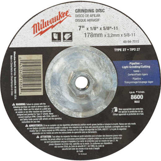 Milwaukee Type 27 7 In. x 1/8 In. x 5/8 In.-11 Pipeline-Cutting/Grinding Cut-Off Wheel