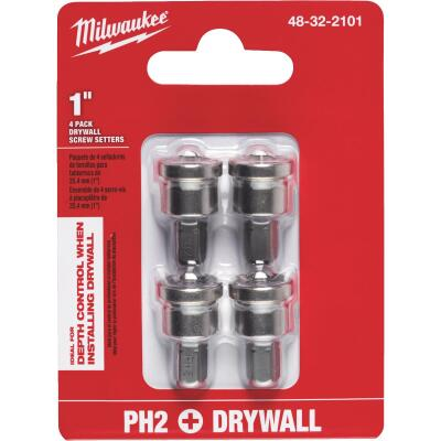 Milwaukee #2 Phillips Insert 1/4 In. Hex Drywall Dimpler Screw Setter (4-Pack)
