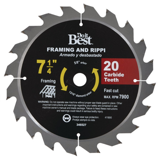 Do it Best 7-1/4 In. 20-Tooth Framing & Ripping Circular Saw Blade