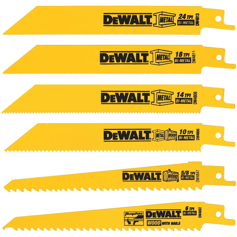 DeWalt 6-Piece Reciprocating Saw Blade Set Image 1