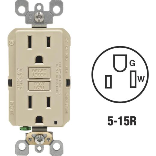 Leviton SmartlockPro Self-Test 15A Ivory Residential Grade Rounded Corner 5-15R GFCI Outlet