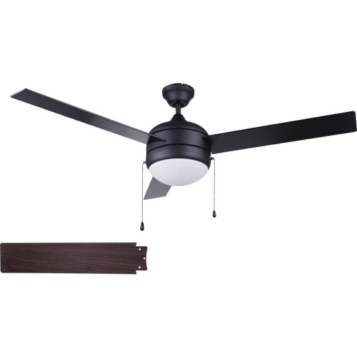 Home Impressions Sardiac 52 In. Black Ceiling Fan with Light Kit