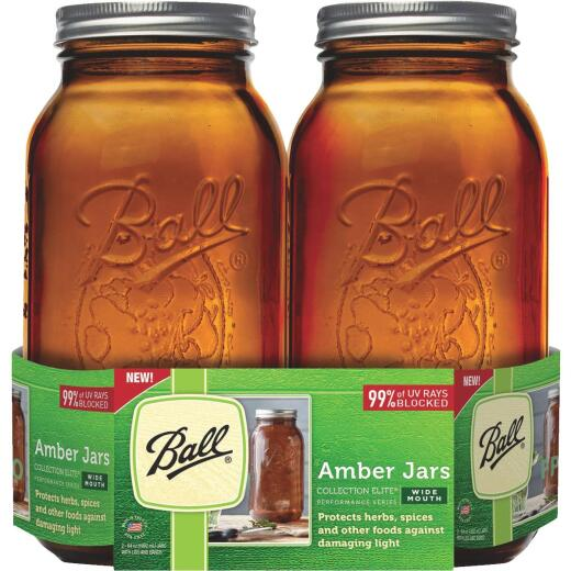 Ball Collection Elite 1/2 Gal. Wide Mouth Amber Canning Jar (2-Count)