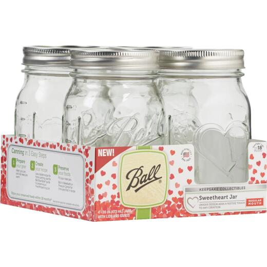 Ball Pint Regular Mouth Sweetheart Keepsake Canning Jar (4-Count)