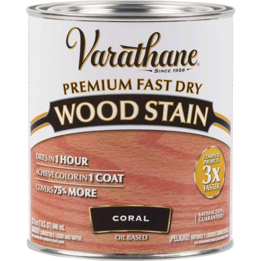 Varathane Fast Dry Coral Wood Urethane Modified Alkyd Interior Wood Stain, 1 Qt.