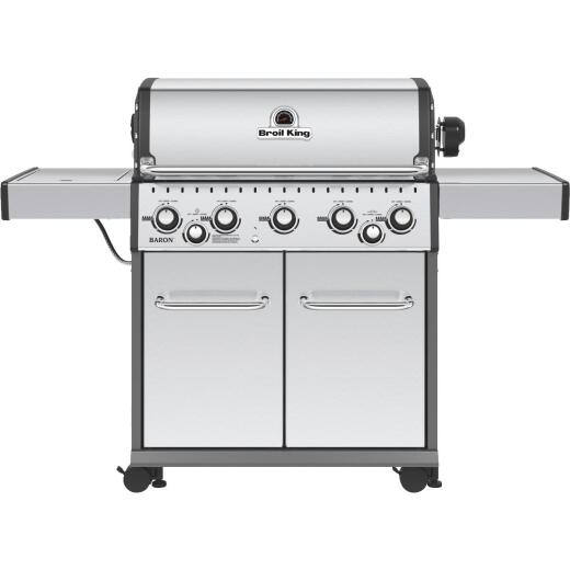Broil King Baron S590 5-Burner Stainless Steel 50,000-BTU LP Gas Grill with 10,000-BTU Side Burner